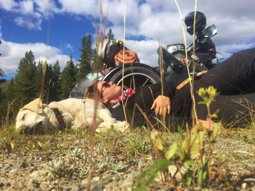 Mallory Paige and Baylor the Dog Nap in the Yukon | Operation Moto Dog